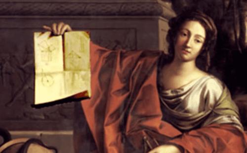 İskenderiyeli Hypatia'nın birine bir şeyler anlatırken çizilmiş bir yağlı boya resmi.