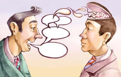 Konuşarak arkadaşını manipüle eden bir adam çizimi.