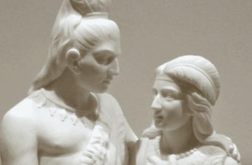 Beyaz alçıdan kadın ve erkek heykeli