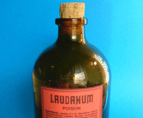 Bir Laudanum şişesi.