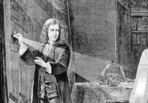 Isaac Newton'un ışık ile deneyler yaparken resmedildiği bir illüstrasyon.