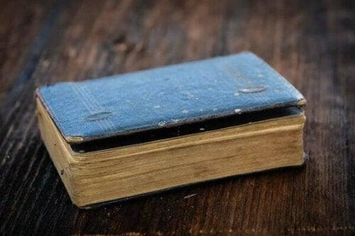 Eski görünen, kapalı bir kitap.
