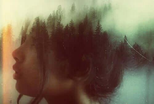 Kafası silikleşerek bir ormana dönüşen bir kadın çizimi.
