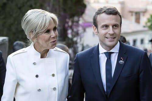 Macron ve karısı.