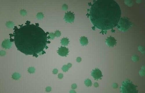 Çok sayıda virüs gösteren bir illüstrasyon.