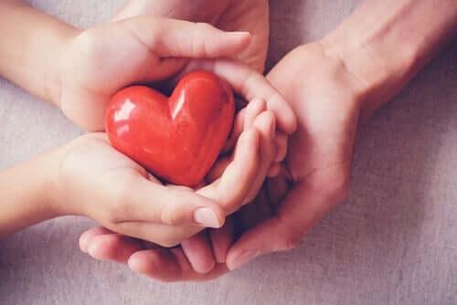 Bir kalbi tutan iki çift el.