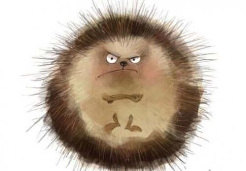 Öfkeli görünen bir kirpi çizimi.