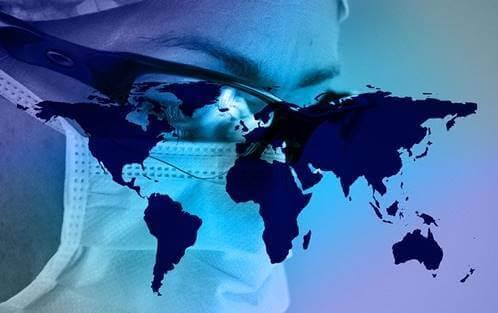 maskeli kafa ve dünya haritası