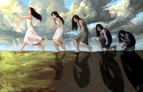 Bir kadının mutluluğa giden evrimini gösteren bir illüstrasyon.