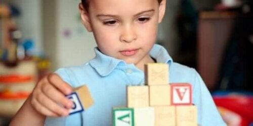 Bloklarla oynayan otizmli bir çocuk.