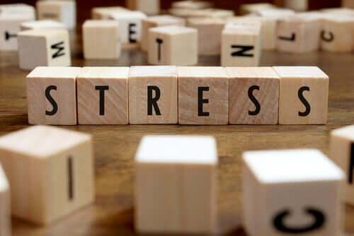 Üzerinde harfler olan bloklar ile yazılmış 'stres' kelimesi.