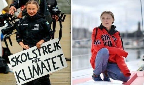 Elinde pankart tutan Greta Thunberg