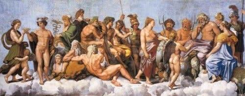 Olimpos tanrılarının resmedildiği bir tablo.