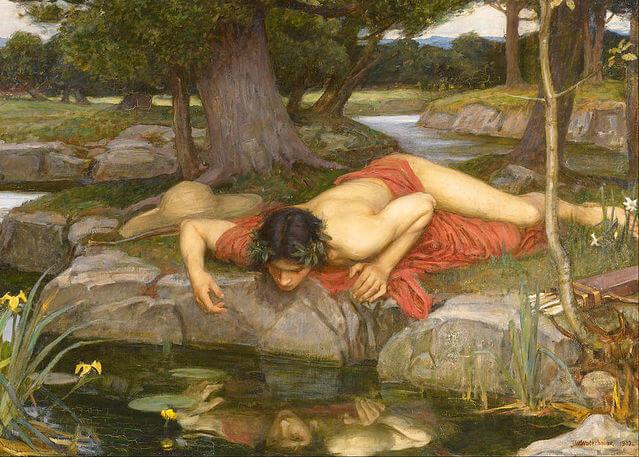 Göldeki yansımasına aşık olan Narcissus ya da Narsist.