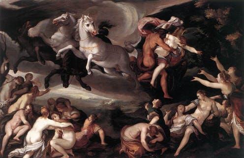 Hades, ormanda gezerken gördüğü Persephone'yi kaçırıp yer altına götürdü.