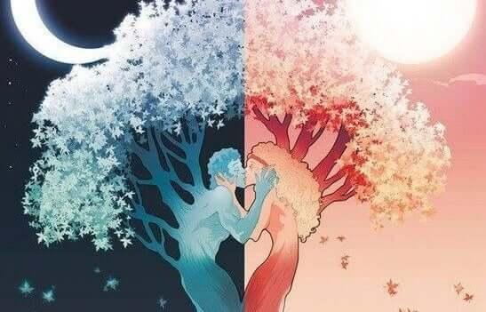 Ağaç şekline bürünmüş bir çift