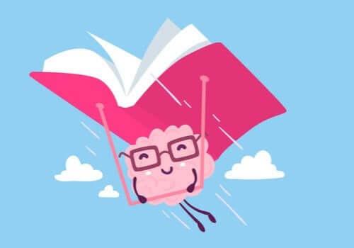 Bir kitap ile birlikte uçan bir beyin çizimi.