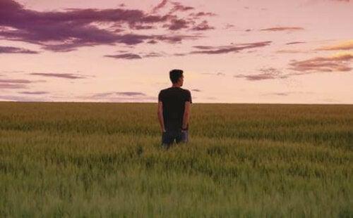 Bir tarlanın ortasında yalnız başına duran bir adam.