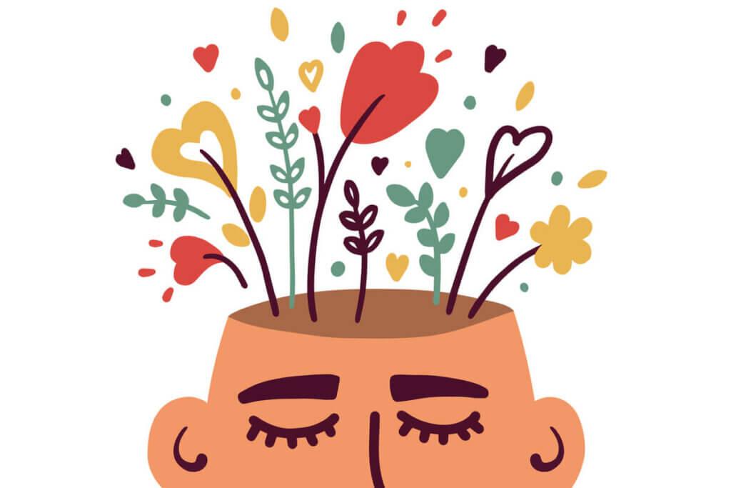 kafasından çiçekler çıkan adam