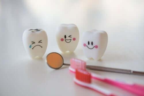sağlıklı dişler çürük dişe gülerken