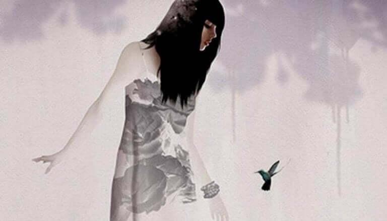 kuşa bakan suluboya kız