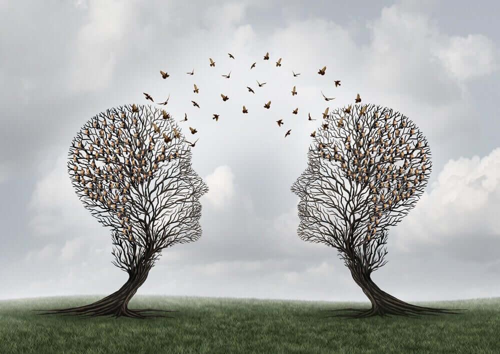 ağaç kafalarda birbirine uçan kuşlar