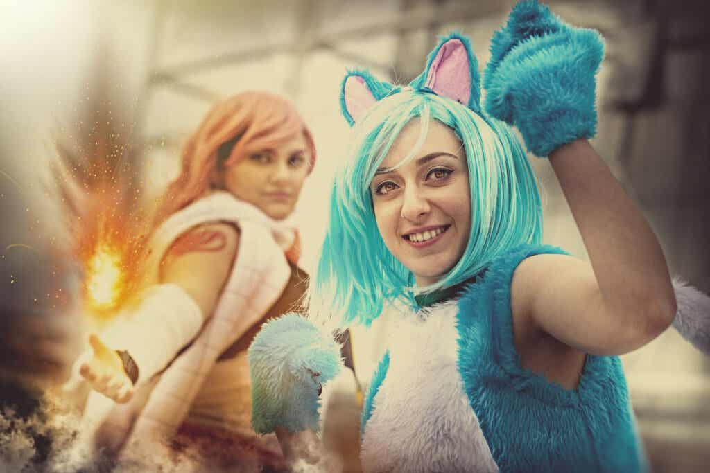 mavi saçlı kedi kulaklı cosplay