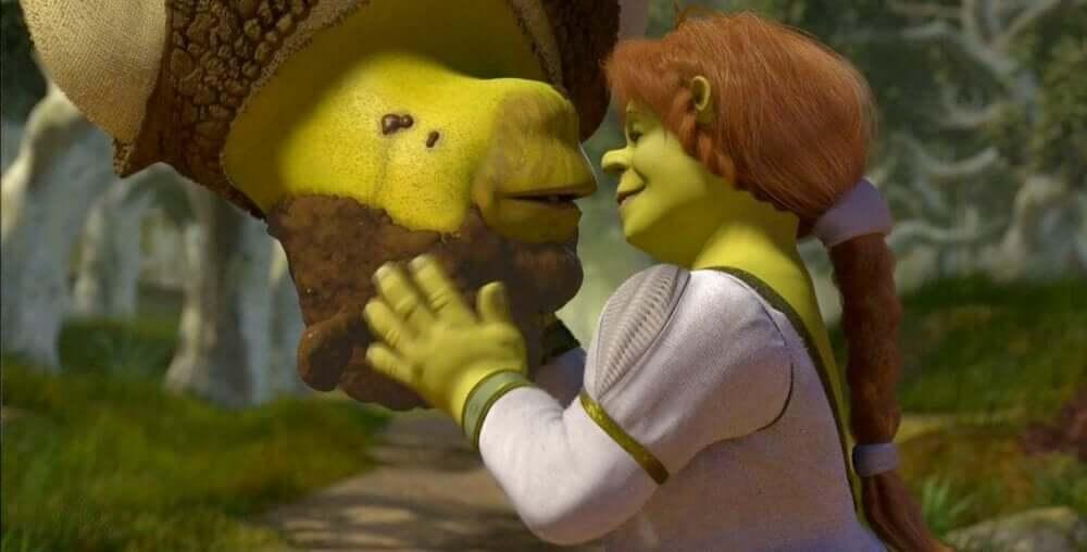 öpüşen shrek ve fiona