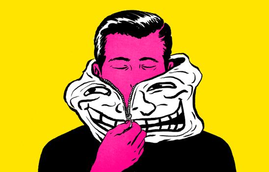 trol maskesini çıkaran pembe suratlı adam